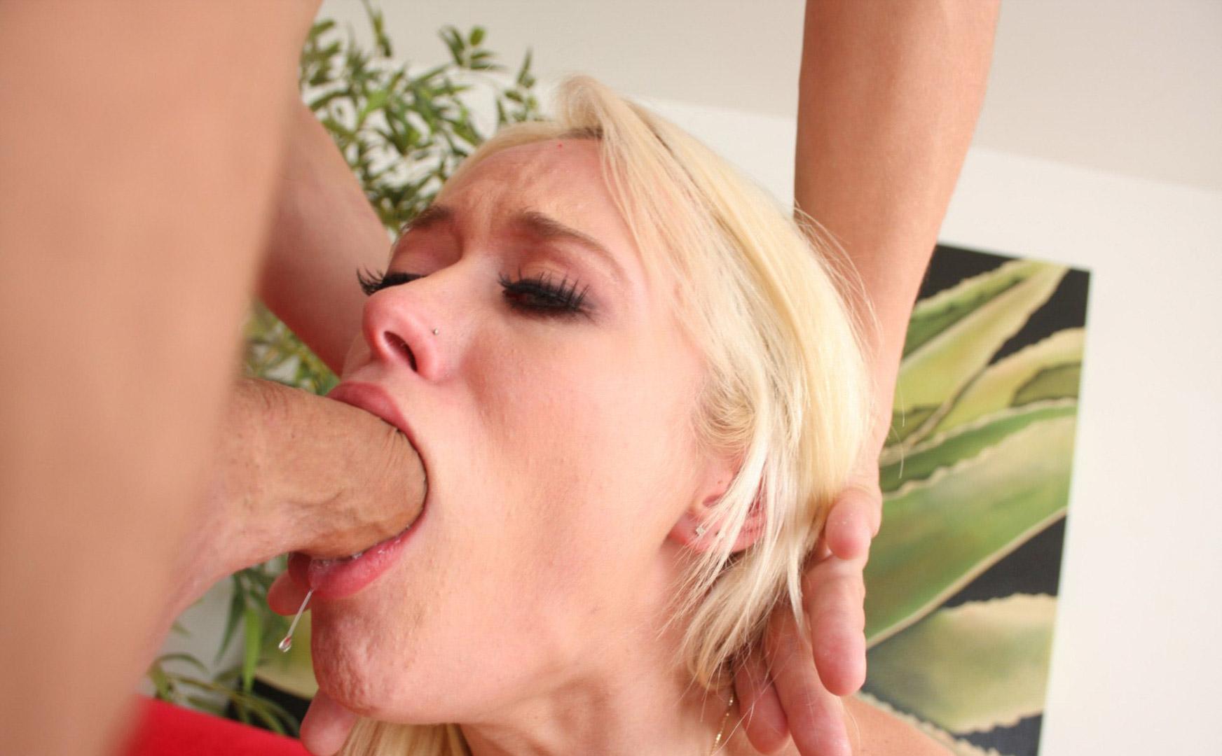 Hot blonde cam babe amazing sloppy deep throat blowjob on a dildo